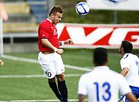Fotball 1. juni 2012 , U21  Norge - Azerbaijan<br /> Norway - Azerbaijan<br /> Marcus Pedersen  ,Norge , scorer her på en heading