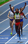 Genzebe Dibaba (ETH) celebrates after winning the women's 3,000m in 8:45.05 during the IAAF World Indoor Championships at Arena Birmingham in Birmingham, United Kingdom on Thursday, Mar 1, 2018. (Steve Flynn/Image of Sport)