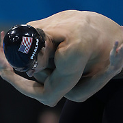 Michael Phelps, USA, in action during the Men's 100m Butterfly Semi Finals at the Aquatic Centre at Olympic Park, Stratford during the London 2012 Olympic games. London, UK. 1st August 2012. Photo Tim Clayton