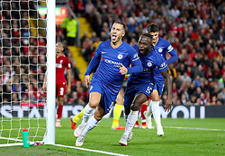 Chelsea's Eden Hazard celebrates scoring his side's second goal of the game during the Carabao Cup, Third Round match at Anfield, Liverpool.