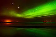 Northern lights or aurora borealis on Lake Winnipeg<br /> Patricia Beach<br /> Manitoba<br /> Canada