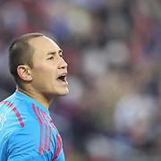 Goalkeeper Luis Robles, New York Red Bulls, in action during the New England Revolution Vs New York Red Bulls, MLS Eastern Conference Final, second leg. Gillette Stadium, Foxborough, Massachusetts, USA. 29th November 2014. Photo Tim Clayton