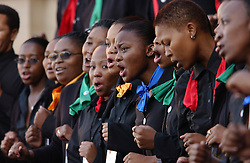 PRETORIA, SOUTH AFRICA - APRIL-27-2004 - A choir performs during the inauguration ceremony for South African President Thabo Mbeki , which marks the 10th Anniversary of the fall of Apartheid in South Africa. (PHOTO © JOCK FISTICK)