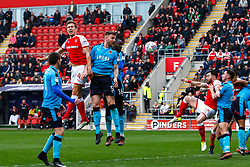 Will Vaulks of Rotherham United heads the ball to set up Richard Wood of Rotherham United's goal and Rotherham United's third of the day - Mandatory by-line: Ryan Crockett/JMP - 07/04/2018 - FOOTBALL - Aesseal New York Stadium - Rotherham, England - Rotherham United v Fleetwood Town - Sky Bet League One