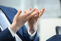 05 MAY 2021, BERLIN/GERMANY:<br /> Haende Jens Spahn, CDU, Bundesgesundheitsminister, wahrend einem Interview, in seinem Buero, Bundesministerium fur Gesundheit<br /> IMAGE: 202105005-01-016<br /> KEYWORDS: Hand, Hände