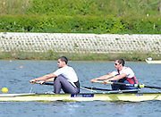 Reading. United Kingdom.  GBR M2-.  Bow. Mason DURANT and Phil CONGDON, in the opening strokes of the morning time trial. 2014 Senior GB Rowing Trails, Redgrave and Pinsent Rowing Lake. Caversham.<br /> <br /> 11:09:11  Saturday  19/04/2014<br /> <br />  [Mandatory Credit: Peter Spurrier/Intersport<br /> Images]