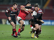 Carl Meyer of the Newport Gwent Dragons Dragons breaks away from  Francis Saili of Munster .<br /> Guinness Pro12 rugby match, Munster v Newport Gwent Dragons at Thomond Park in Limerick , Ireland on Saturday 5th March 2016.<br /> pic by  John Halas, Andrew Orchard sports photography.