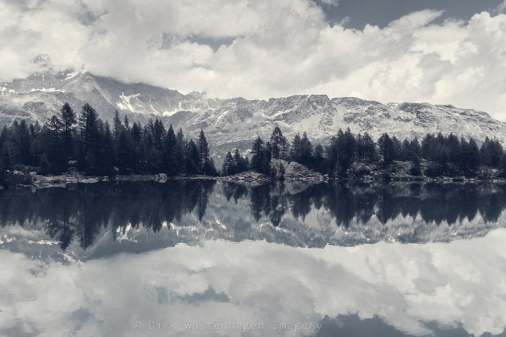 Lake in the Italian Alps on a summer day - Alpe Lagazzuolo