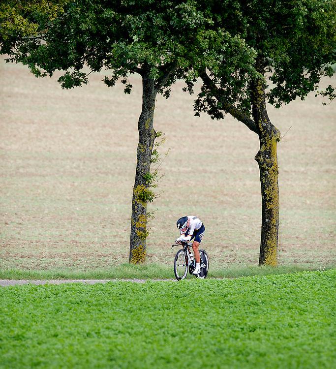 Nederland, Zuid-Limburg, 19-09-2012.<br /> Wielrennen, Wereld kampioenschap.<br /> Tijdrit, Individueel, Mannen.<br /> Tony Martin uit Duitsland 18 km onderweg naar de wereldtitel.<br /> Foto: Klaas Jan van der Weij