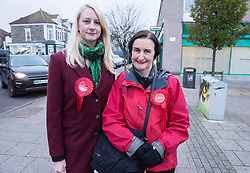 © Licensed to London News Pictures. 21/11/2019. Bristol, UK. General Election 2019; NIA GRIFFITH (right), Labour shadow defence secretary, with local Labour candidate MHAIRI THRELFALL (left), on a visit to Fountain Square, Broad Street, in the seat of Filton and Bradley Stoke on the day Labour launched their manifesto. Labour candidate Mhairi Threlfall is challenging sitting Conservative MP Jack Lopresti in Filton and Bradley Stoke. Photo credit: Simon Chapman/LNP.