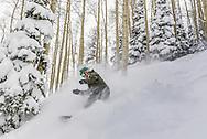 Marshall Workman finds a stash of fresh powder at Aspen Highlands.