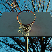 Basketball hoop in Titus Sparrow Park, South End, Boston, MA