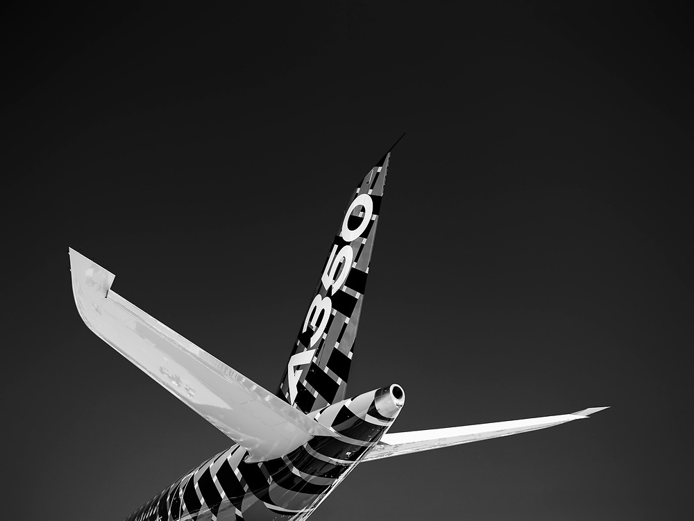 The empennage of an Airbus A-350, photographed during AirVenture 2015 in Oshkosh, Wisconsin.  <br />