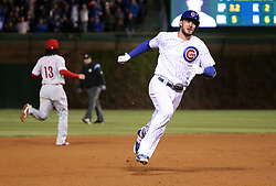 May 2, 2017 - Chicago, IL, USA - The Chicago Cubs' Kris Bryant accelerates on the base paths en route to a triple in the fourth inning against the Philadelphia Phillies at Wrigley Field in Chicago on Tuesday, May 2, 2017. (Credit Image: © Chris Sweda/TNS via ZUMA Wire)