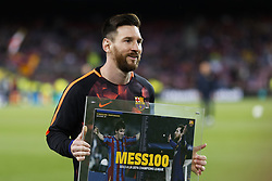 April 4, 2018 - Barcelona, Catalonia, Spain - April 4, 2018 - Barcelona, Spain - Uefa Champions League Quarter final first leg, FC Barcelona v AS Roma: Leo Messi of FC Barcelona receives the trophy for scores 100 goals in the competition. (Credit Image: © Marc Dominguez via ZUMA Wire)