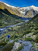 Glacier-clad 2620m Mt Edward rises above the Dart Valley on a spectacular day hike from Dart Hut to Cascade Saddle, Rees-Dart Track, in Mount Aspiring National Park, Otago region, South Island of New Zealand.