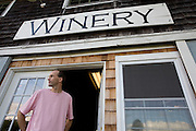 Winemaker and distiller Keith Bodine outside Sweetgrass Winery, Union, Maine.