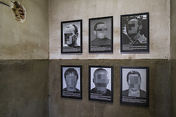 November 17, 2018 - Barcelona, Catalonia, Spain - Several framed and pixelated portraits, by Santiago Sierra seen on the walls of one of the rooms of the Nau Bostik industrial building in La Sagrera..The exhibition named ''Comteporáneos Spanish Political Prisoners'' is a piece of art by Santiago Sierra, which was censored by the Spanish Government in the past edition of ARCO 2018. (Credit Image: © Paco Freire/SOPA Images via ZUMA Wire)