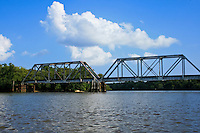 Train trestle over the Altamaha River in Southeast Georgia.