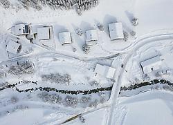 THEMENBILD - Luftaufnahme Ortsteil Unterburg, am Donnerstag 10. Dezember 2020 in Kals. Aufgenommen mit einer Drohnen nach den starken Schneefällen welche vom 5. bis 8. Dezember 2020 für grosse Neuschneemengen in Oberkärnten und Osttirol sorgten // Aerial view Kals Unterburg, on Thursday December 10, 2020 in Kals. Photo taken with a drone after the heavy snowfalls which caused large amounts of new snow in Upper Carinthia and East Tyrol from December 5th to 8th, 2020. EXPA Pictures © 2020, PhotoCredit: EXPA/ Johann Groder