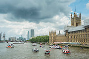 Storm clouds gather over the fleet - Nigel Farage, the leader of Ukip, joins a flotilla of fishing trawlers up the Thames to Parliament to call for the UK's withdrawal from the EU, in a protest timed to coincide with prime minister's questions.