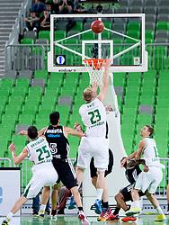 Alen Omic #23 of KK Union Olimpija during basketball match between KK Union Olimpija and  Cimberio Varese (ITA) of 1st Round of Regular season of EuroCup 2013/2014 on October 16, 2013, in SRC Stozice, Ljubljana, Slovenia. (Photo by Urban Urbanc / Sportida)