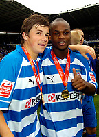 Photo: Ed Godden.<br /> Reading v Queens Park Rangers. Coca Cola Championship. 30/04/2006. Reading players John Oster and Leroy Lita celebrate winning the Championship.