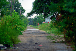 27 August 2014. Lower 9th Ward, New Orleans, Louisiana.<br /> Hurricane Katrina 9 years later. What appears to be a country track runs through the middle of what was once a densely packed urban setting. Many derelict, falling down buildings dot the landscape as the area struggles to recover from Hurricane Katrina.<br /> Photo; Charlie Varley/varleypix.com
