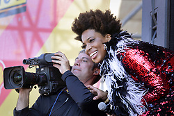 01 May 2015. New Orleans, Louisiana.<br /> The New Orleans Jazz and Heritage Festival. <br /> Macy Gray having fun with TV cameramen as she performs with Galactic on the Acura stage.<br /> Photo; Charlie Varley/varleypix.com
