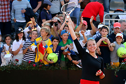 May 18, 2018 - Rome, Rome, Italy - 18th May 2018, Foro Italico, Rome, Italy; Italian Open Tennis; Anett Kontaveit (EST) celebrates after winning her quarter-final match against Caroline Wozniacki (DEN) lost 6-1, 6-1. Credit: Giampiero Sposito/Pacific Press (Credit Image: © Giampiero Sposito/Pacific Press via ZUMA Wire)