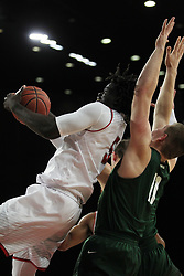 November 14, 2017 - Oxford, Ohio, U.S - Miami (Oh) Redhawks forward Precious Ayah (5) pulls down a rebound in front of Wright State Raiders center Loudon Love (11) on the play. As Miami rose on to win 73 to 67 at home in Oxford,Ohio. (Credit Image: © Ernest Coleman via ZUMA Wire)