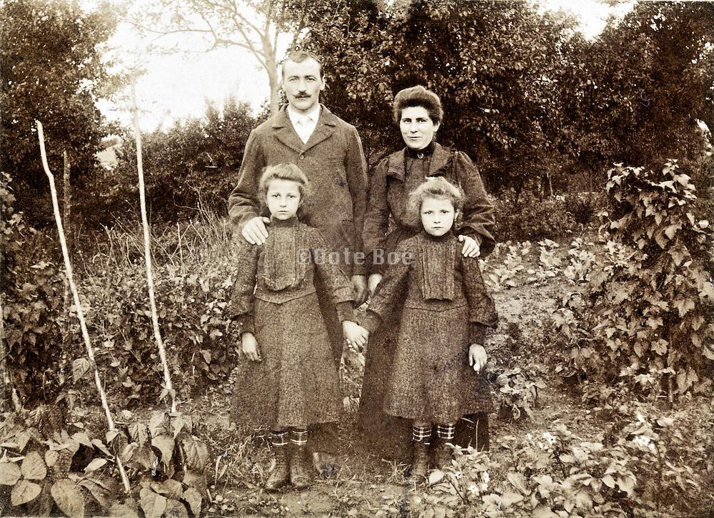 vintage family portrait in garden France