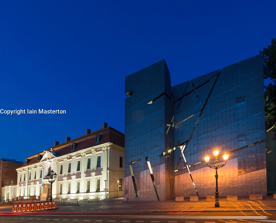 Night view of Judisches Museum or Jewish Museum in Berlin Germany