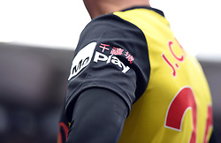 Close up of the MoPlay sponsor on Watford's Jose Holebas's shirt