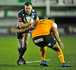 Cardiff Blues' Owen Lane tackled by Cheetahs' Johannes Coetzee<br /> <br /> Photographer Mike Jones/Replay Images<br /> <br /> Guinness PRO14 Round 14 - Cardiff Blues v Cheetahs - Saturday 10th February 2018 - Cardiff Arms Park - Cardiff<br /> <br /> World Copyright © Replay Images . All rights reserved. info@replayimages.co.uk - http://replayimages.co.uk