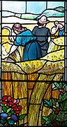 Stained glass window church of Saint Mary, Martlesham, Suffolk, England, UK by Walter J Pearce in Arts and Craft style, 1903 Sowers and Reapers