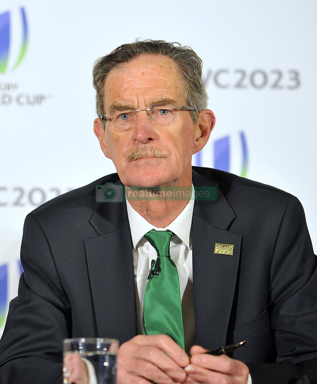 Dick Spring Chairman, Ireland 2023 Oversight Board, during the 2023 Rugby World Cup host candidates presentations at the Royal Garden Hotel in London, where Ireland are bidding to host the event against France and South Africa.