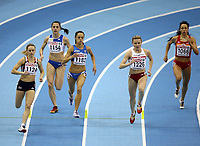 Photo: Rich Eaton.<br /> <br /> EAA European Athletics Indoor Championships, Birmingham 2007. 03/03/2007. Jenny Meadows left #1124 competes in the semi final of the womens 800m