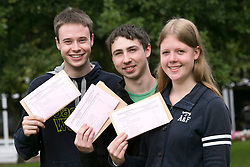 © Licensed to London News Pictures. 14/08/2014. Solihull, West Midlands, UK. A level results announced at Solihull School earlier today. Engineers of the future, Off to study engineering at Bath, Oxford and Cambridge Universities, from left, Alex Browse, Sam McCumiskey, Lucy Allen, all 18. Photo credit : Dave Warren/LNP