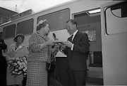 15/11/1965<br /> 11/15/1965<br /> 15 November 1965<br /> Inauguration of Blue Cross Mobile Clinic at the Intercontinental Hotel, Dublin. Picture shows Mr Charles J. Haughey T.D., Minister for Agriculture and Fisheries, who performed the ceremony, being given a gift by Mrs Moya Mahon, Vice Chairman of Blue Cross.