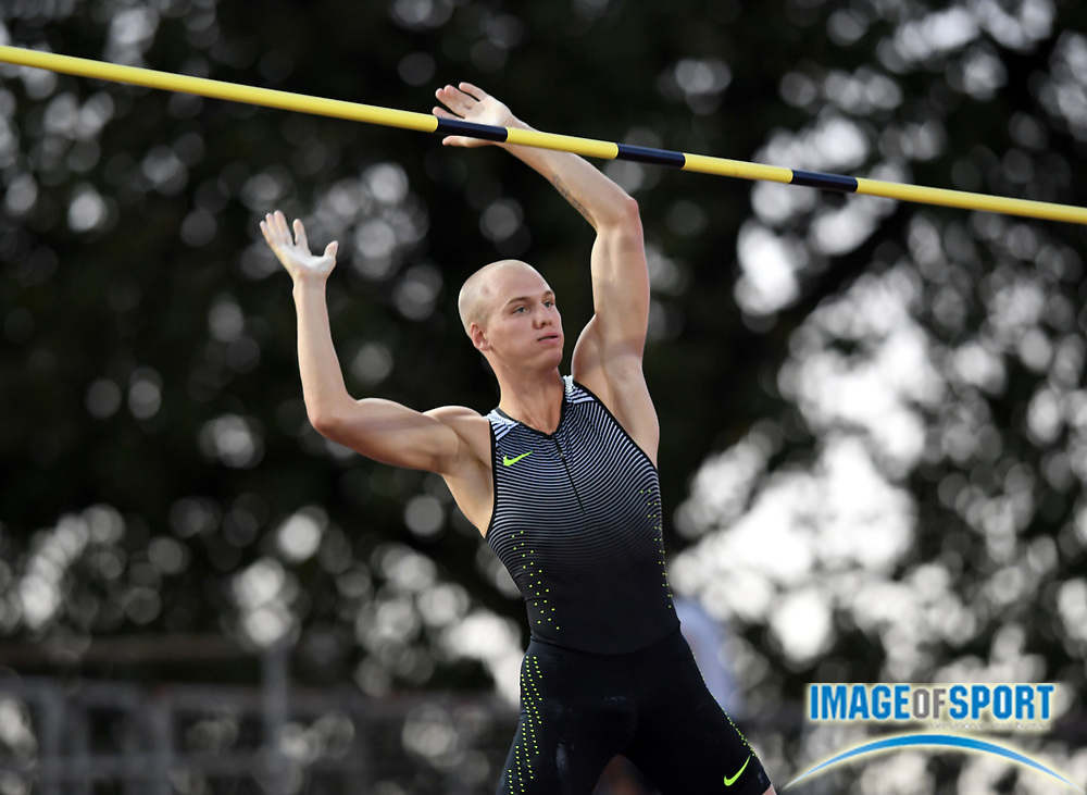 Aug 25, 2016; Lausanne, Switzerland; Sam Kendricks (USA) wins the pole vault at 19-5 (5.92m) during the 2016 Athletissima in an IAAF Diamond League meeting at Stade Olympique de la Pontaise. Photo by Jiro Mochizuki