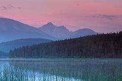 lake; jasper canada; pastel; sunrise; forest; mountains