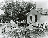 1889 Students and teachers outside a Lankershim Ranch School in a bunkhouse.