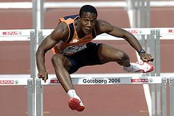 11-08-2006 ATLETIEK: EUROPEES KAMPIOENSSCHAP: GOTHENBURG <br /> Gregory Sedoc liep in zijn serie naar de tweede plaats (13,67) en had direct zekerheid over een plaats in de halve finale<br /> ©2006-WWW.FOTOHOOGENDOORN.NL