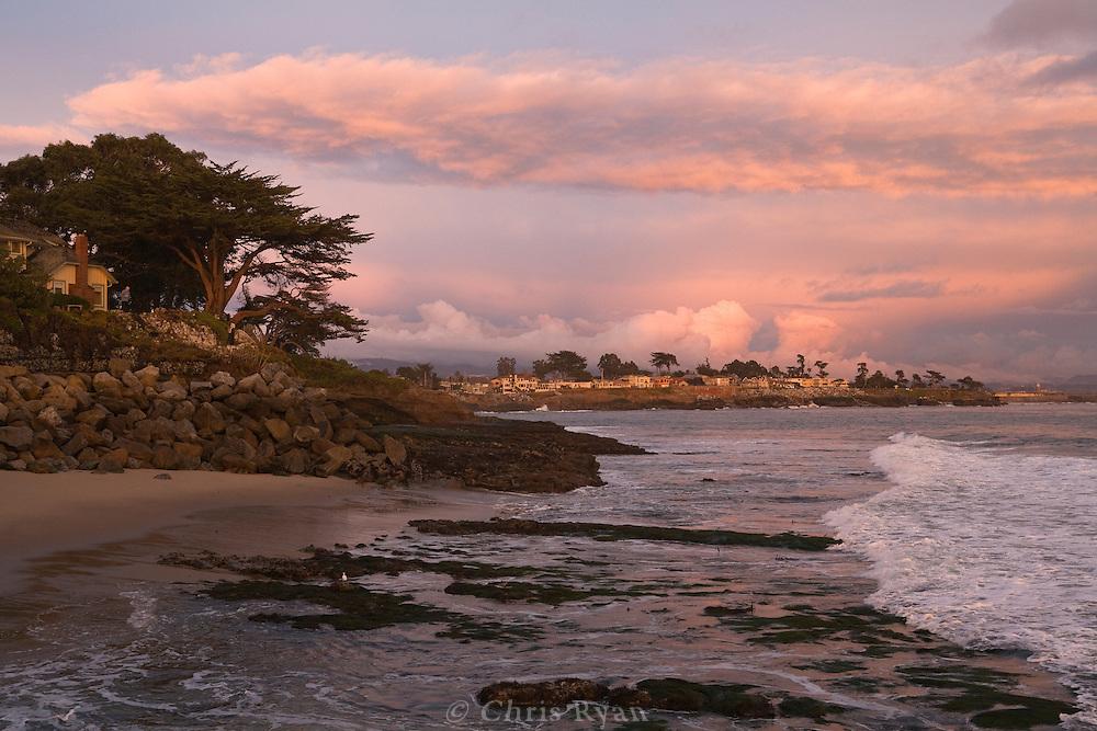 Stormclouds and pink sunset, Santa Cruz, California
