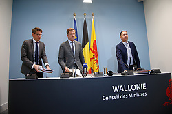 April 27, 2017 - Namur, BELGIUM - Walloon Minister of Local Authorities, Cities, Housing Pierre-Yves Dermagne, Walloon Minister President Paul Magnette and Walloon Minister of Public Works, Road Safety, Health, Social Affairs, Family Allowances, Equal Chances, Economic Activities and Heritage Maxime Prevot arrive for a press conference after a meeting of the Walloon government at the Elysette in Namur, Thursday 27 April 2017. BELGA PHOTO BRUNO FAHY (Credit Image: © Bruno Fahy/Belga via ZUMA Press)