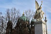 Berlin: Berliner Dom and behind the TV tower in Alexander platz.