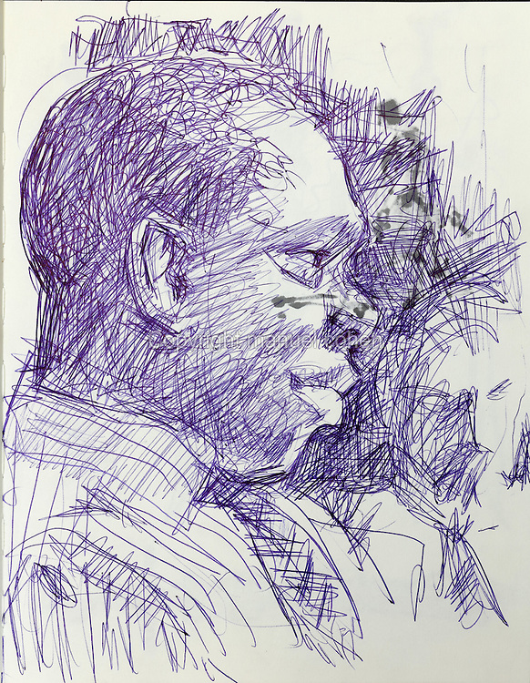 Biro sketch of a man in profile, from a sketchbook used for developing characters, used since 2000, by Grzegorz Rosinski, 1941-, Polish comic book artist. Rosinski was born in Stalowa Wola, Poland, and now lives in Switzerland, and is the author and designer of many Polish comic book series. He created Thorgal with Belgian writer Jean Van Hamme. The series was first published in Tintin in 1977 and has been published by Le Lombard since 1980. The stories cover Norse mythology, Atlantean fantasy, science fiction, horror and adventure genres. Picture by Manuel Cohen / Further clearances requested, please contact us and/or visit www.lelombard.com