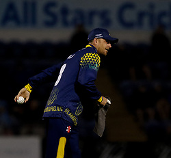 Glamorgan's Graham Wagg throws the ball<br /> <br /> Photographer Simon King/Replay Images<br /> <br /> Vitality Blast T20 - Round 14 - Glamorgan v Surrey - Friday 17th August 2018 - Sophia Gardens - Cardiff<br /> <br /> World Copyright © Replay Images . All rights reserved. info@replayimages.co.uk - http://replayimages.co.uk