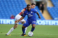 Junior Hoilett of Cardiff city in action. EFL Skybet championship match, Cardiff city v Sheffield Utd at the Cardiff City Stadium in Cardiff, South Wales on Tuesday 15th August 2017.<br /> pic by Andrew Orchard, Andrew Orchard sports photography.
